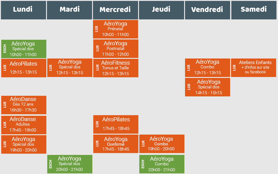 kideaz planning aeroyoga horaires cours