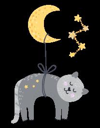 kideaz byebye lit petit chat lune