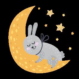 kideaz byebye lit petit lapin lune