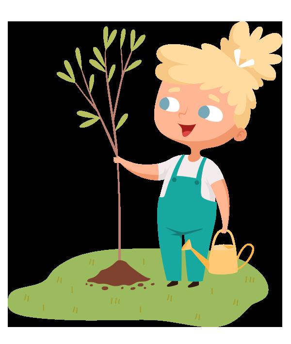 kideaz jardinage enfant illustration planter jardin