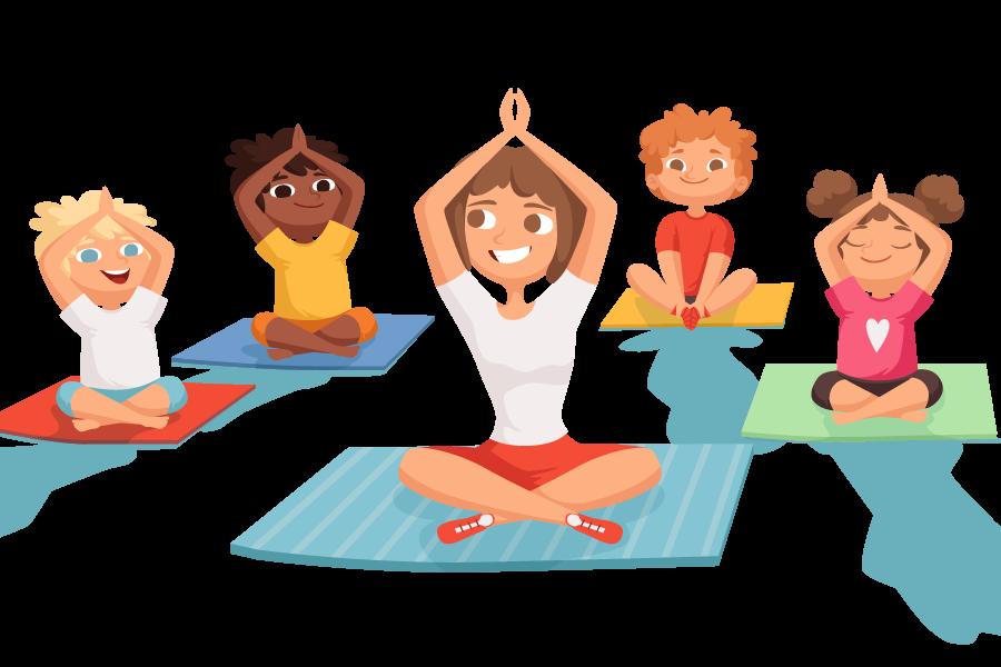 kideaz yoga enfants parent sport illustration