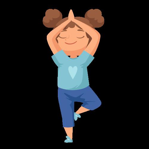 kideaz yoga posture arbre fille etirements relaxation