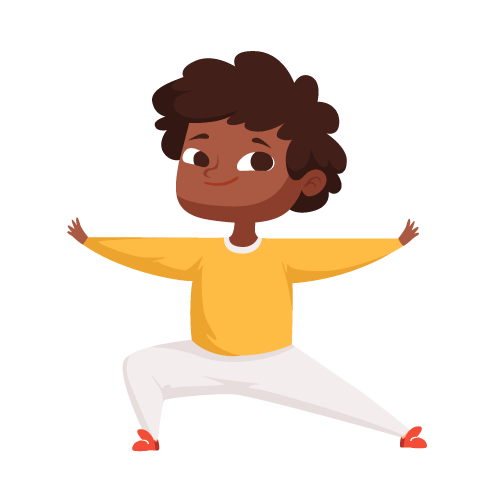 kideaz yoga posture guerrier garcon etirements relaxation