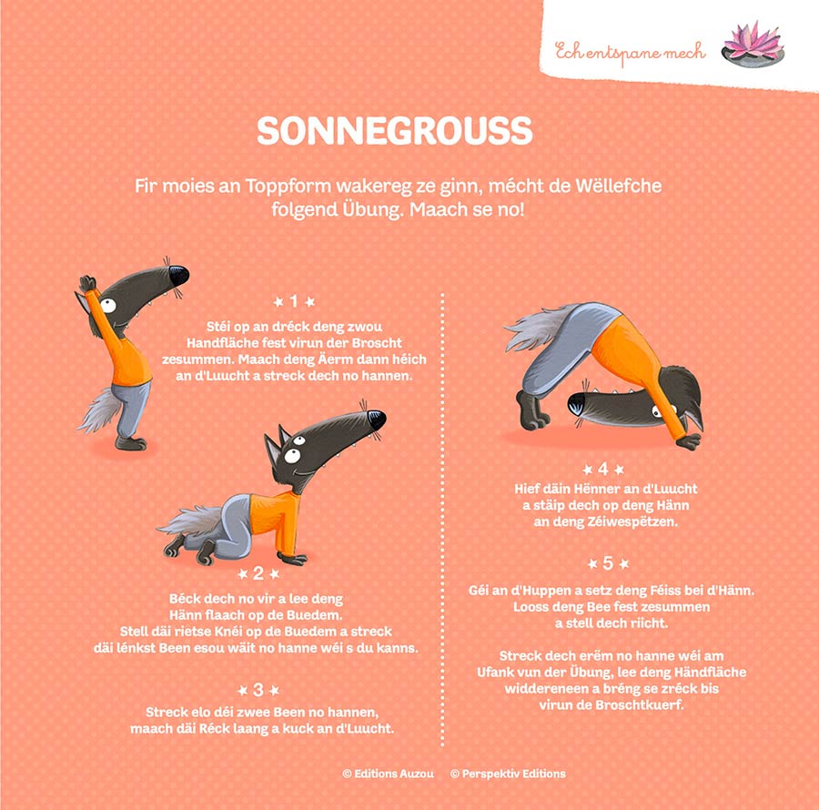 kideaz perspektiv editions de wollef loup activite salutation soleil yoga enfants