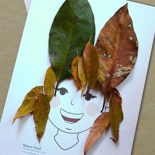 kideaz diy collage feuilles nature arbres chapeau enfant