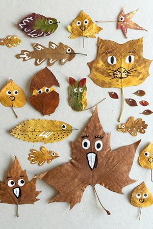 kideaz peinture diy feuilles arbres personnages enfants activite ludique