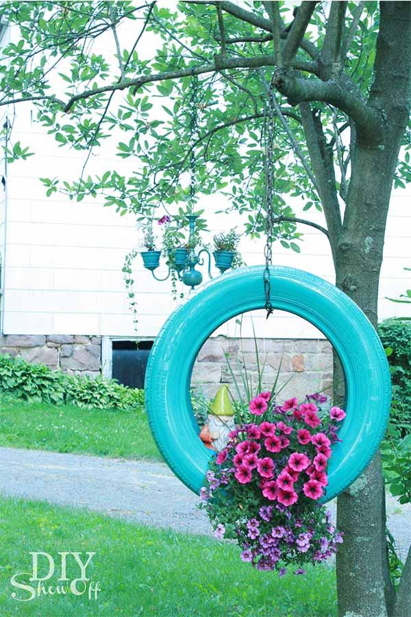 kidaz diy upcycling pot fleur pneu diy show off