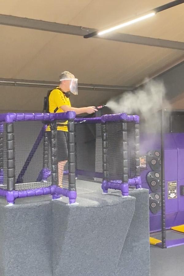 kideaz ozone trampoline ninja parc desinfection covid mesure sanitaire