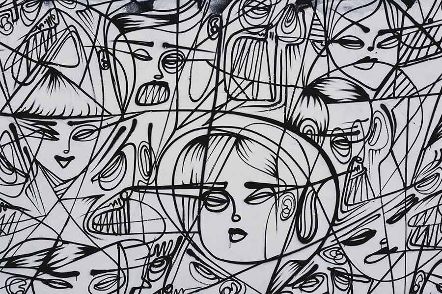 kideaz abstrait dessin noir blanc