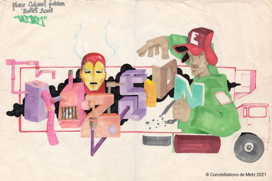 kideaz copyright constellations de metz sketch lesquisse graffiti