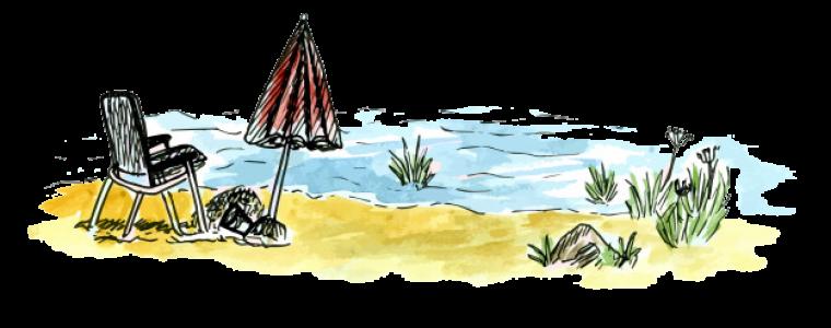 croquis fauteuil parasol mer vacances ete 2