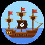 kideaz bateau pirate icone illustration fete enfant