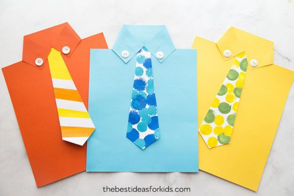 kideaz fête des pères carte chemise avec cravatte