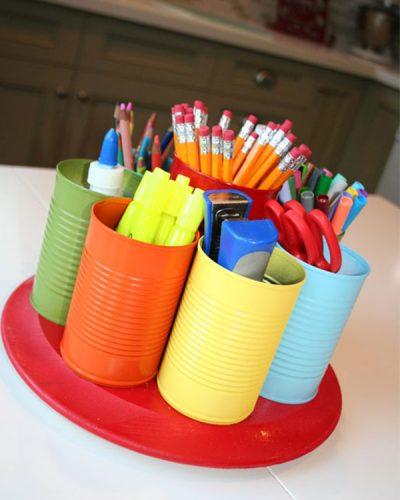 kideaz upcycling diy pots de crayon boites conserve